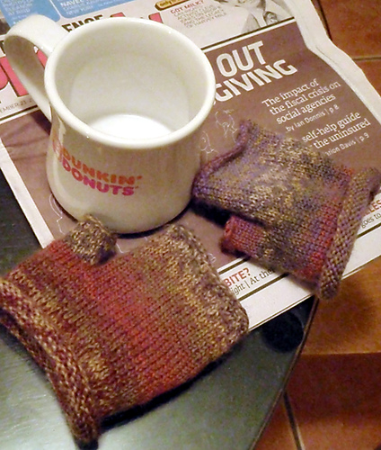 sock yarn mini hand warmers knit