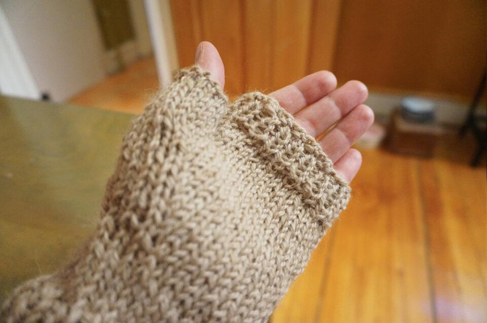 palm of the knitted glove