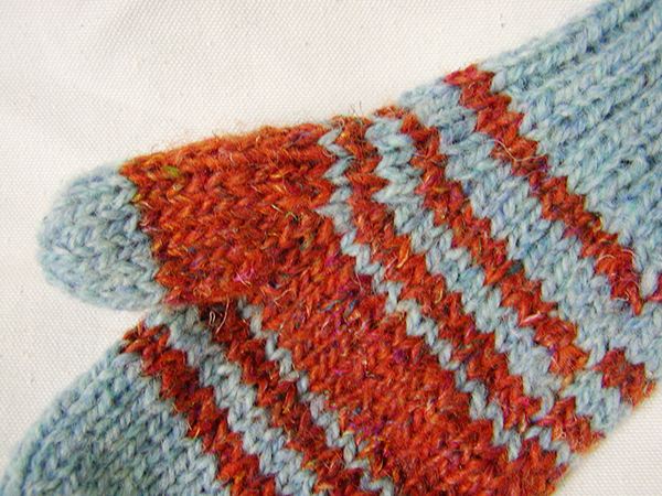 closeup of mitten thumb